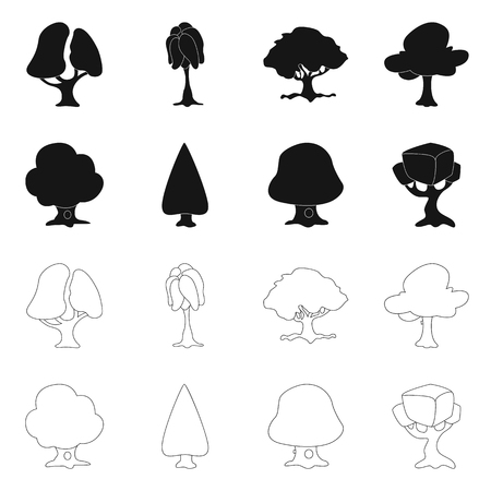 Vector illustration of tree and nature logo. Collection of tree and crown stock symbol for web. Vettoriali