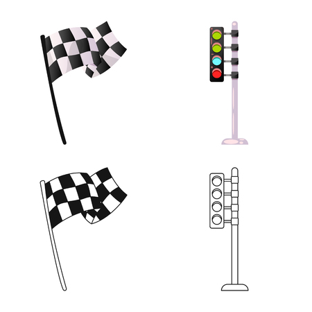 Isolated object of car and rally icon. Collection of car and race vector icon for stock. Stock Illustratie