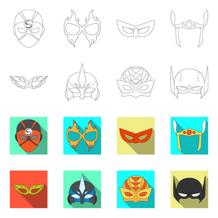 Isolated object of hero and mask logo. Collection of hero and superhero vector icon for stock.
