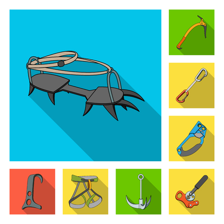 Mountaineering and climbing flat icons in set collection for design. Equipment and accessories vector symbol stock  illustration. Illustration