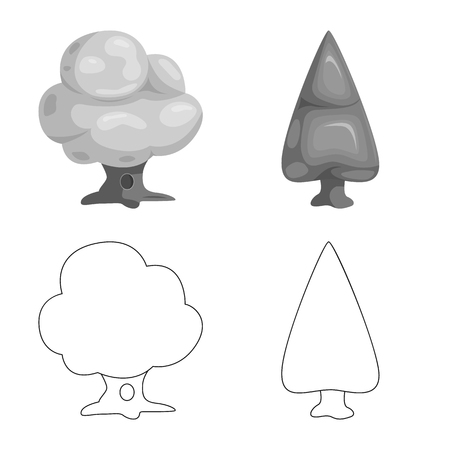 Isolated object of tree and nature icon. Collection of tree and crown stock vector illustration.