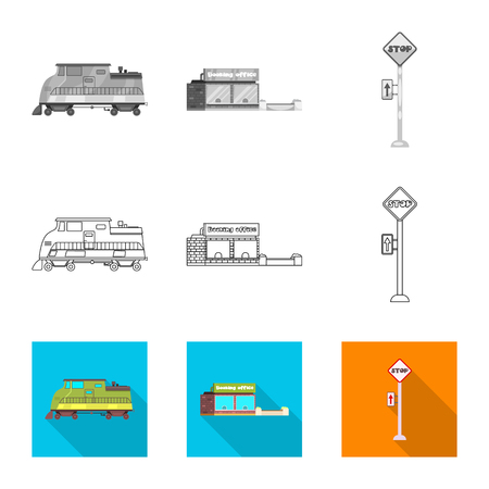 Isolated object of train and station logo. Set of train and ticket stock symbol for web.  イラスト・ベクター素材