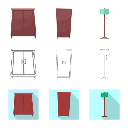 Vector design of furniture and apartment icon. Set of furniture and home stock vector illustration.  イラスト・ベクター素材