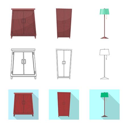 Vector design of furniture and apartment icon. Set of furniture and home stock vector illustration. Illusztráció