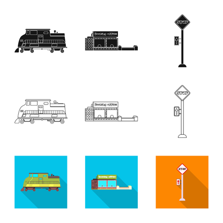 Vector design of train and station icon. Collection of train and ticket stock symbol for web.