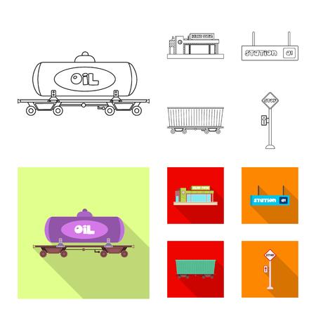 Vector design of train and station symbol. Set of train and ticket stock vector illustration. Illustration