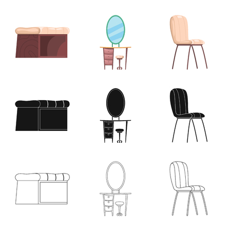 Isolated object of furniture and apartment logo. Set of furniture and home vector icon for stock.