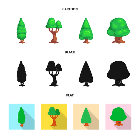 Isolated object of tree and nature symbol. Collection of tree and crown stock vector illustration. Иллюстрация
