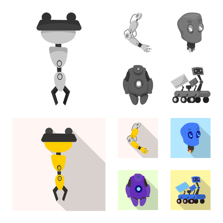 Vector design of robot and factory icon. Collection of robot and space stock vector illustration.