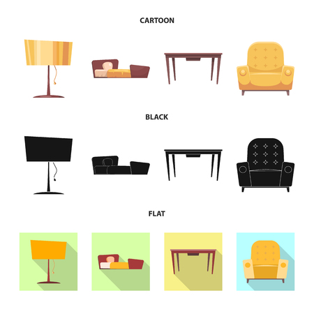 Vector illustration of furniture and apartment logo. Collection of furniture and home stock symbol for web.
