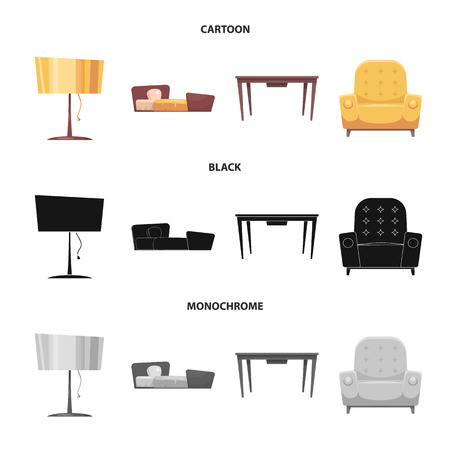 Vector illustration of furniture and apartment icon. Collection of furniture and home stock vector illustration. 矢量图像