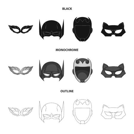 Vector design of hero and mask logo. Set of hero and superhero stock symbol for web.