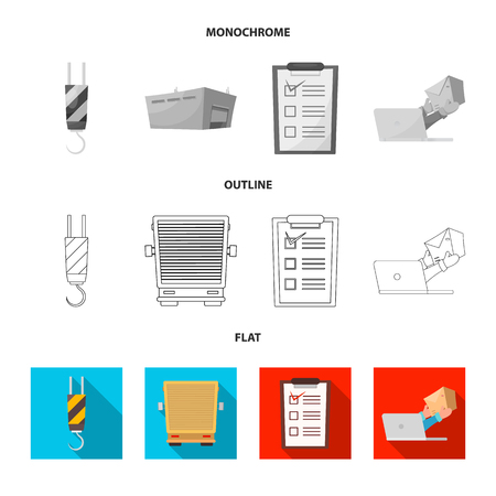 Isolated object of goods and cargo sign. Set of goods and warehouse vector icon for stock. Vecteurs
