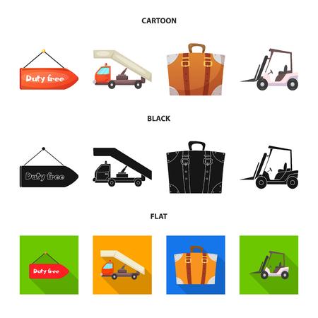 Vector illustration of airport and airplane symbol. Set of airport and plane vector icon for stock. Ilustração