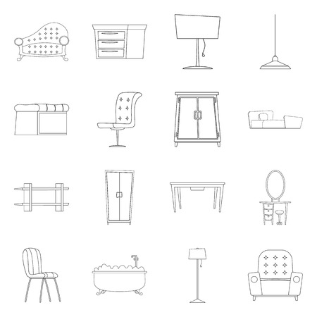 Isolated object of furniture and apartment logo. Set of furniture and home stock symbol for web. Illustration