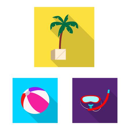 Vektorillustration des Pool- und Schwimmsymbols. Sammlung von Pool- und Aktivitätsvektorsymbol für Lager.