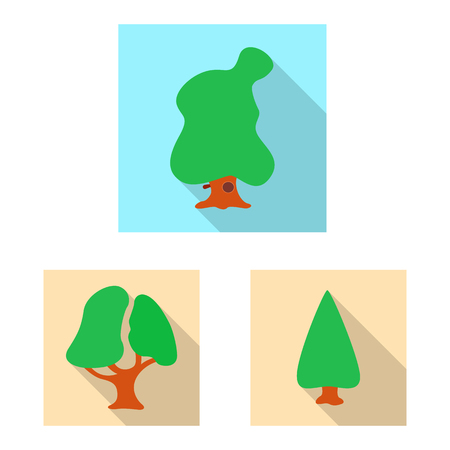 Vector illustration of tree and nature sign. Collection of tree and crown vector icon for stock.