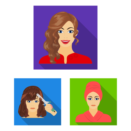 Care of hair and face flat icons in set collection for design. Perfumes and makeup vector symbol stock web illustration.