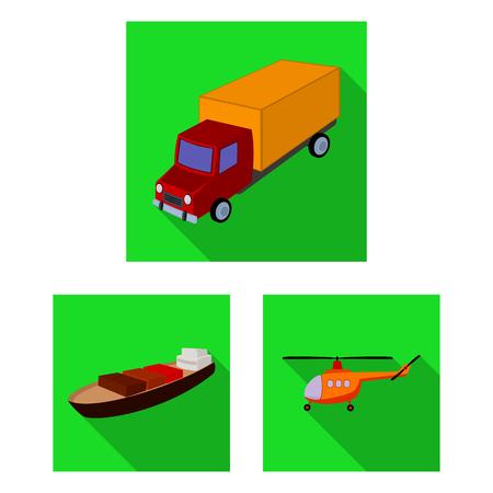 Verschiedene Arten von flachen Transportsymbolen in der Set-Sammlung für Design. Auto- und Schiffsvektorsymbolvorrat-Netzillustration.