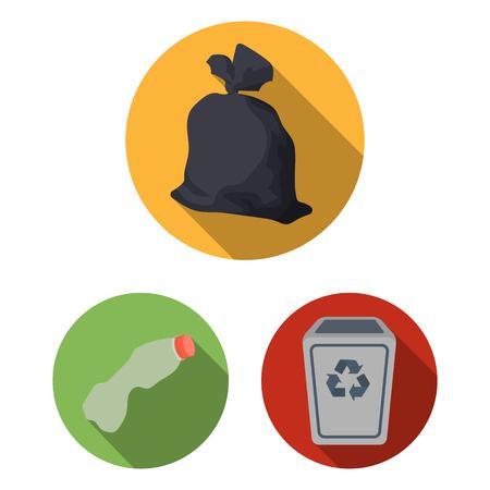 Icônes plates de déchets et déchets dans la collection de jeu pour la conception. Nettoyage des ordures vecteur symbole stock illustration web. Vecteurs