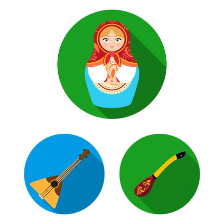 País Rusia, viajes planos iconos de colección set de diseño. Atracciones y características vector símbolo stock web ilustración.