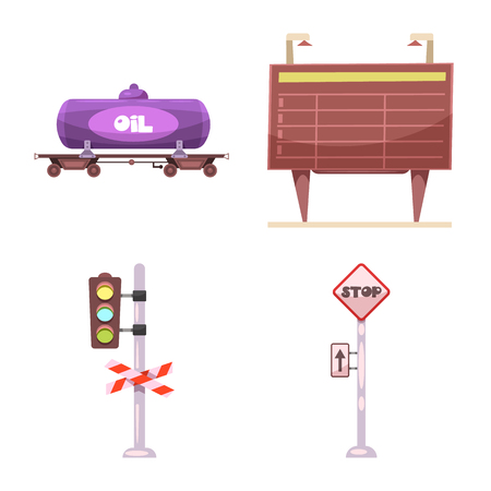 Vector illustration of train and station sign. Set of train and ticket stock symbol for web.