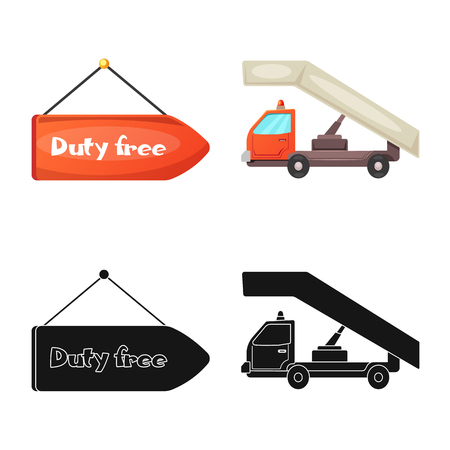 Isolated object of airport and airplane icon. Collection of airport and plane vector icon for stock. Ilustração