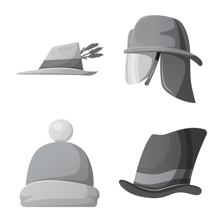Isolated object of headgear and cap sign. Set of headgear and accessory stock symbol for web.