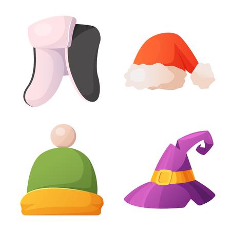 Izolowany obiekt znaku nakrycia głowy i czapki. Zestaw nakrycia głowy i symbol zapasów akcesoriów dla sieci web. Ilustracje wektorowe