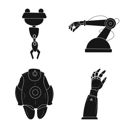 Vector design of robot and factory symbol. Collection of robot and space stock symbol for web. Ilustrace