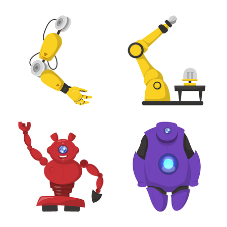 Vector illustration of robot and factory sign. Collection of robot and space vector icon for stock.