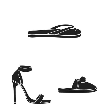 A variety of shoes black icons in set collection for design. Boot, sneakers bitmap symbol stock  illustration. 版權商用圖片