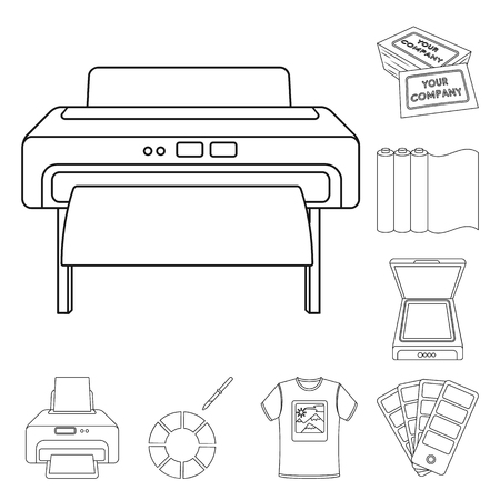 Typographical products outline icons in set collection for design. Printing and equipment bitmap symbol stock illustration.