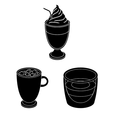 Different kinds of coffee black icons in set collection for design. Coffee drink bitmap symbol stock  illustration. Фото со стока