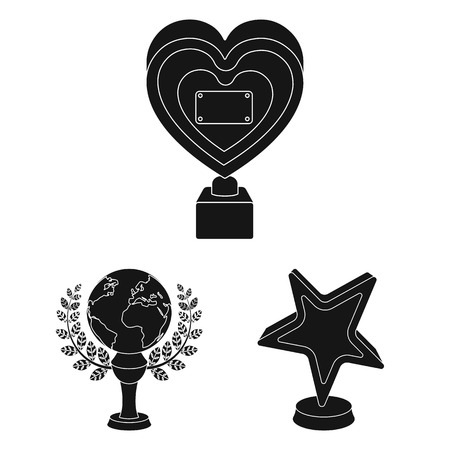 Film awards and prizes black icons in set collection for design. The World Film Academy bitmap symbol stock  illustration.