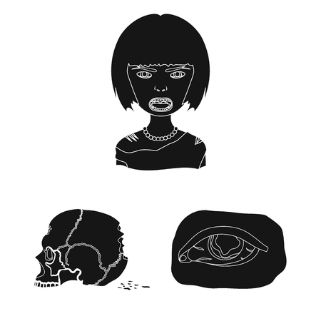 Zombies and Attributes black icons in set collection for design. Dead man bitmap symbol stock web illustration.