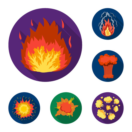 Different explosions flat icons in set collection for design.Flash and flame bitmap symbol stock  illustration.