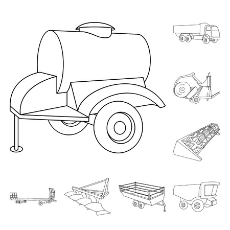 Agricultural machinery outline icons in set collection for design. Equipment and device bitmap symbol stock web illustration.