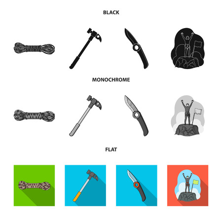 Climber on conquered top, coil of rope, knife, hammer.Mountaineering set collection icons in black, flat, monochrome style bitmap symbol stock illustration .