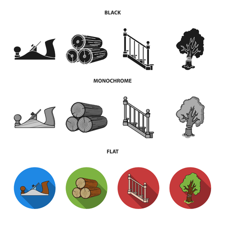 Logs in a stack, plane, tree, ladder with handrails. Sawmill and timber set collection icons in black, flat, monochrome style bitmap symbol stock illustration web. Reklamní fotografie