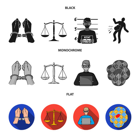 Handcuffs, scales of justice, hacker, crime scene.Crime set collection icons in black, flat, monochrome style bitmap symbol stock illustration web.