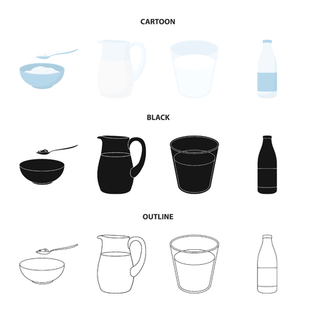 Bowl of cottage cheese, a glass, a bottle of kefir, a jug. Moloko set collection icons in cartoon,black,outline style bitmap symbol stock illustration .