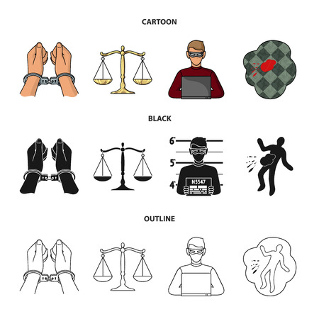 Handcuffs, scales of justice, hacker, crime scene.Crime set collection icons in cartoon,black,outline style bitmap symbol stock illustration .