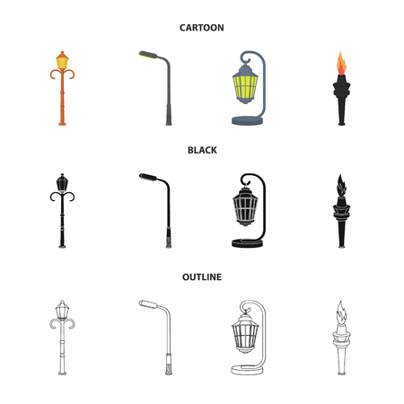 Lamppost in retro style,modern lantern, torch and other types of streetlights. Lamppost set collection icons in cartoon,black,outline style bitmap symbol stock illustration . Stock Photo