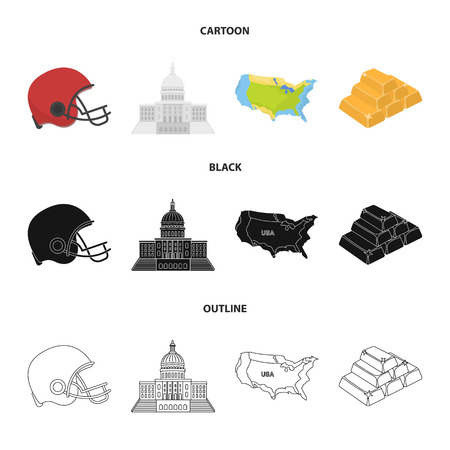 Football player helmet, capitol, territory map, gold and foreign exchange. USA country set collection icons in cartoon,black,outline style bitmap symbol stock illustration .