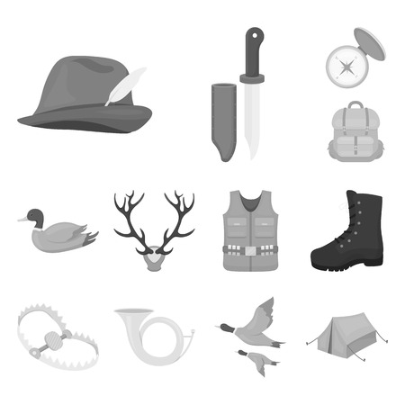 Hunting and trophy monochrome icons in set collection for design. Hunting and equipment bitmap symbol stock  illustration. Stok Fotoğraf