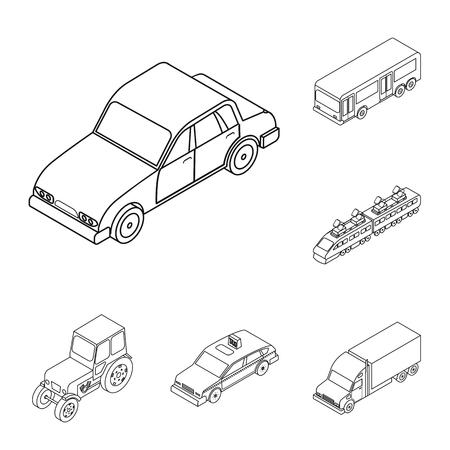 Diversi tipi di icone di contorno di trasporto nella raccolta di set per il design. Auto e nave isometrica simbolo d'archivio web illustrazione di vettore. Vettoriali