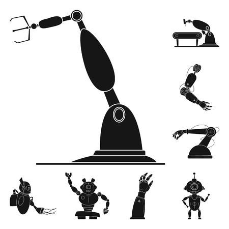 Objeto aislado de robot y símbolo de fábrica. Colección de ilustración vectorial de stock robot y espacial.
