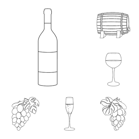 Wine products outline icons in set collection for design. Equipment and production of wine vector symbol stock web illustration.
