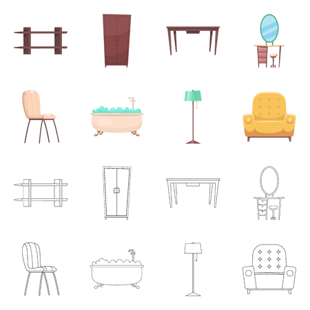 Isolated object of furniture and apartment sign. Collection of furniture and home vector icon for stock. 向量圖像